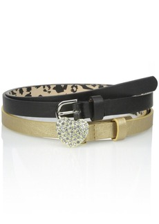 Betsey Johnson Women's Two For One Belt Set with Heart Stone Buckle and Basic Pant Belt