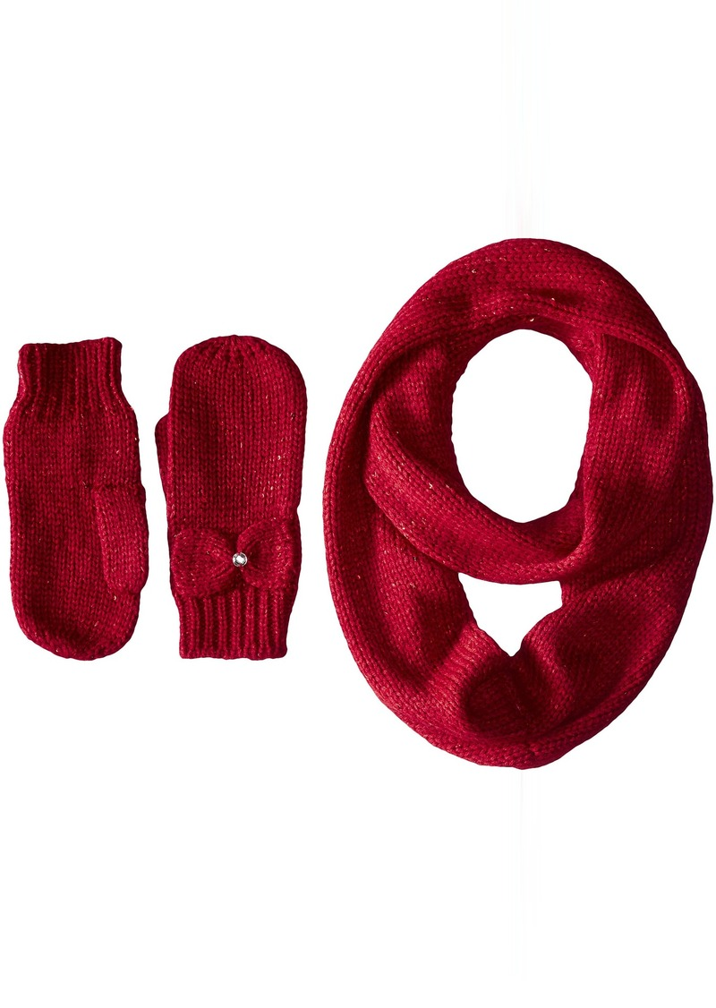 Betsey Johnson Women's Two Piece Gift Set with Uptown Glitz Knit Infinity Scarf and Mitten
