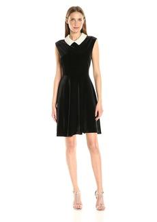 Betsey Johnson Women's Velvet Dress with Embellished Collar
