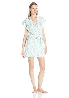 Betsey Johnson Women's Vintage Terry Cap Sleeve Ruffle Robe