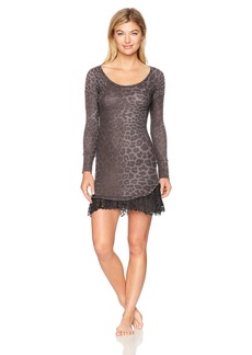 Betsey Johnson Women's Waffle Knit & Lace Sleepshirt Spot On Grey Leopard M