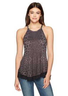 Betsey Johnson Women's Waffle Knit & Lace Tank Spot On Grey Leopard L