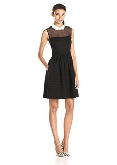 Betsey Johnson Women's White Collar Fit and Flare Dress Black/Ivory