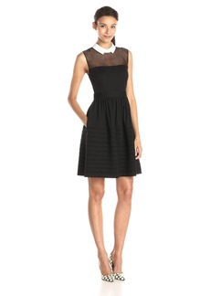 Betsey Johnson Women's White Collar Fit and Flare Dress