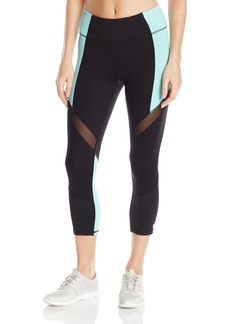 Betsey Johnson Women's Wrap Around Mesh Colorblock Crop Legging  L
