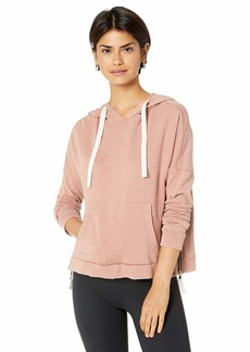 Betsey Johnson Women's ZIP HEM DISTRESS WASH HOODIE    MEDIUM