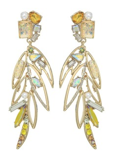 Betsey Johnson Yellow Bird Multi Stone Feather Earrings