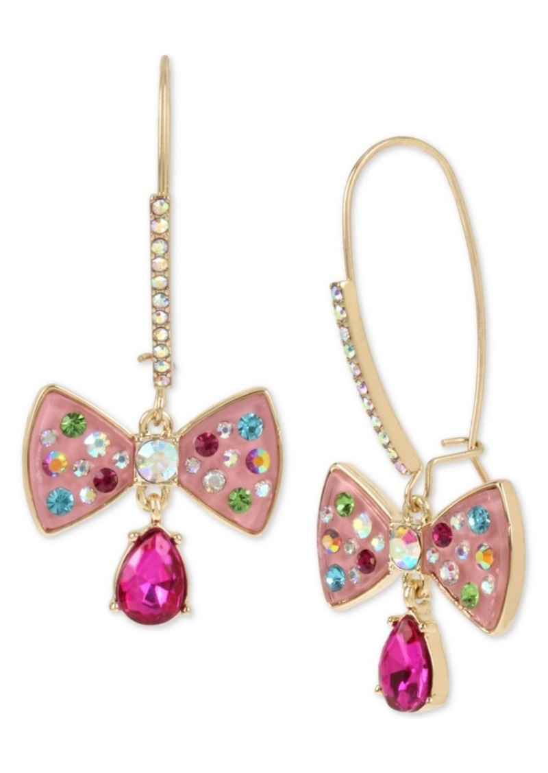 ed98d114112c4 Betsey Johnston Gold-Tone Stone & Enamel Bow Drop Earrings