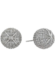 Blue by Betsey Johnson Ball Studs with Pave Crystal Accents and Silver Tone Details Earrings