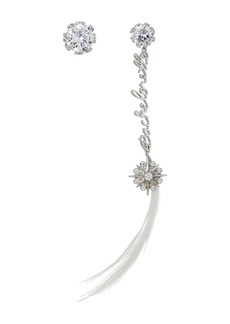 Blue by Betsey Johnson Crystal Stone Stud with Silver Tone Details and Silver 'Bachelorette' Linear with Crystal Charm and Feather Drop Earrings