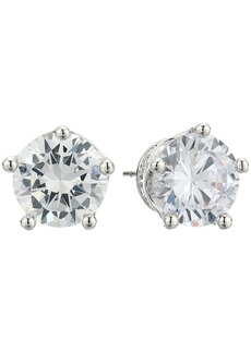 Blue by Betsey Johnson Cubic Zirconia Stone Studs with Crown Base and Accents Earrings