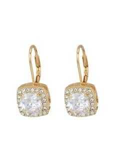 Blue by Betsey Johnson CZ Square-Shaped Stone Drops with Crystal Accents and Gold Tone Base with Heart-Shaped Cut Out Details Earrings