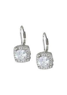 Blue by Betsey Johnson CZ Square-Shaped Stone Drops with Crystal Accents and Heart-Shaped Cut Out Details Earrings