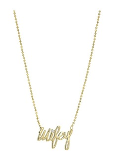 Blue by Betsey Johnson Delicate Necklace Chain and 'Wifey' Pendant with Cubic Zirconia Stone Accent