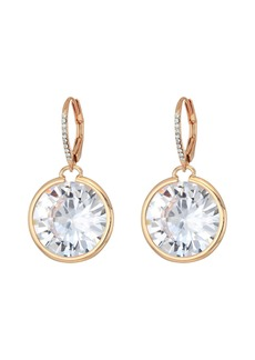Blue by Betsey Johnson Large CZ Stone Drop with Crystal Accents and Rose Gold Tone Details Earrings