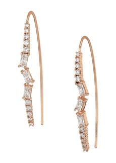 Blue by Betsey Johnson Rose Gold and CZ Stone Linear Earrings