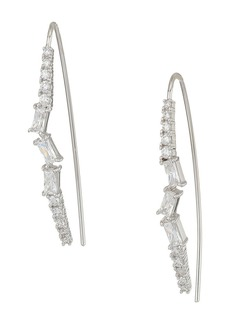 Blue by Betsey Johnson Silver and CZ Stone Linear Earrings