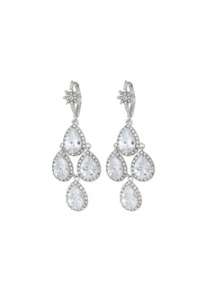 Blue by Betsey Johnson Silver Tone Chandelier with Crystal CZ Teardrop-Shaped Stones and Star Accent Earrings