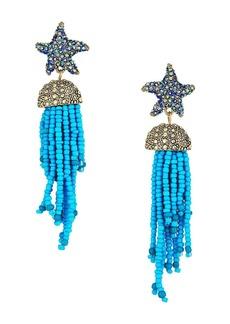 Betsey Johnson Blue Starfish and Tassel Drop Earrings