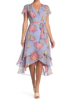 Betsey Johnson Bouquet Chiffon Wrap Dress