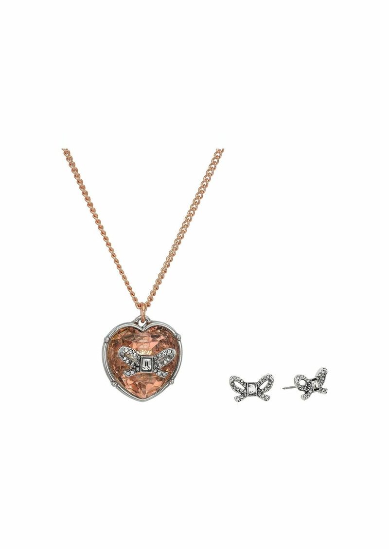 Betsey Johnson Bow Heart Necklace/Earrings Set