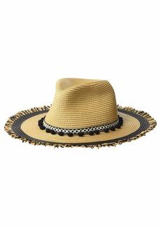 Betsey Johnson Braided Pom Band Panama Hat w/ Raw Edge