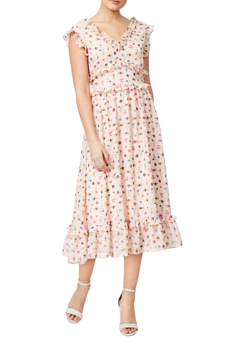 Betsey Johnson Bug Print Ruffle Midi Dress