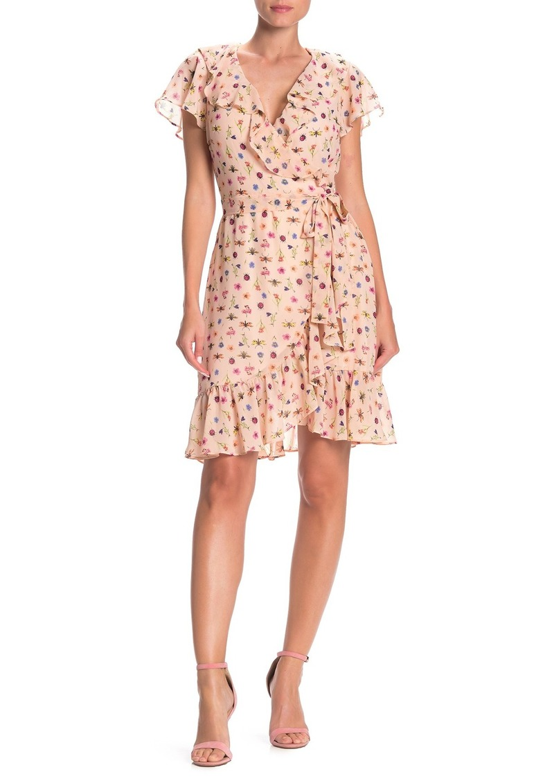 Betsey Johnson Bug Printed Wrap Dress