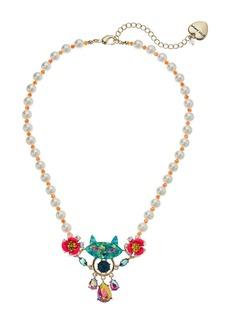 Betsey Johnson Cat Short Pendant Necklace