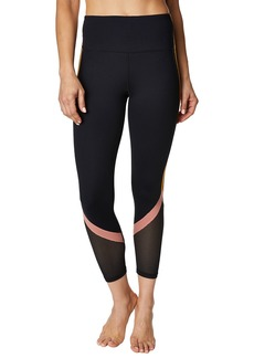 Betsey Johnson Colorblock-Striped Mesh Calf Capri Leggings