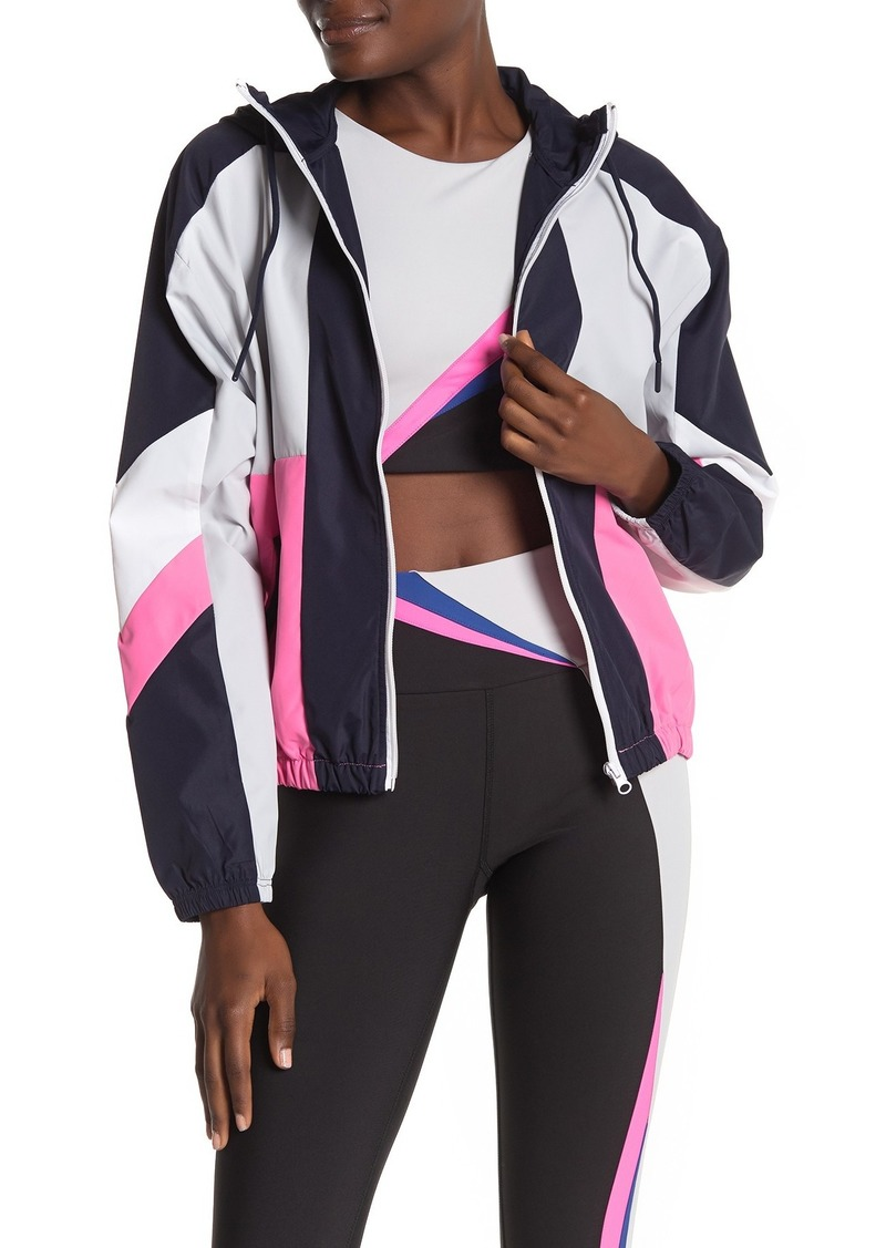 Betsey Johnson Colorblock Woven Front Zip Jacket