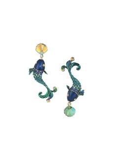 Betsey Johnson Colorful Fish Mismatch Drop Earrings