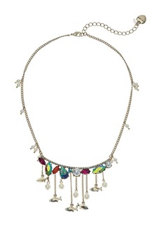 Betsey Johnson Colorful Stone and Pearl Fish Frontal Necklace