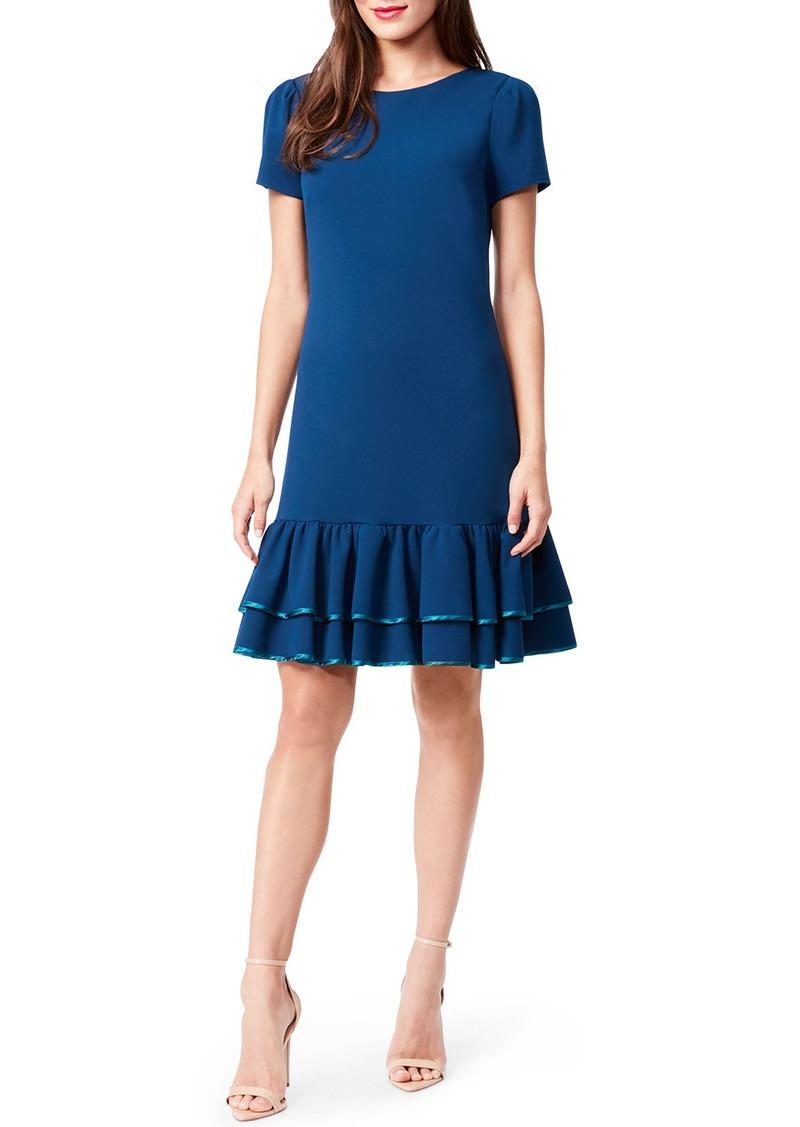 Betsey Johnson Crepe Tiered Contrast Trim Flounce Dress