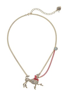 Betsey Johnson Crystal and Gold Poodle Pendant Necklace