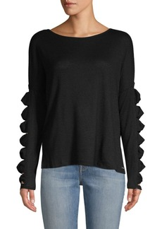 Betsey Johnson Cut-Out Long-Sleeve Top