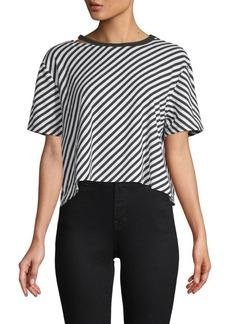 Betsey Johnson Diagonal Striped Cropped Top