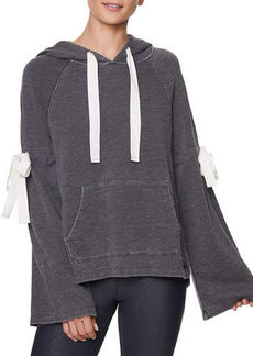 Betsey Johnson Distressed Bow Bell-Sleeve Hoodie