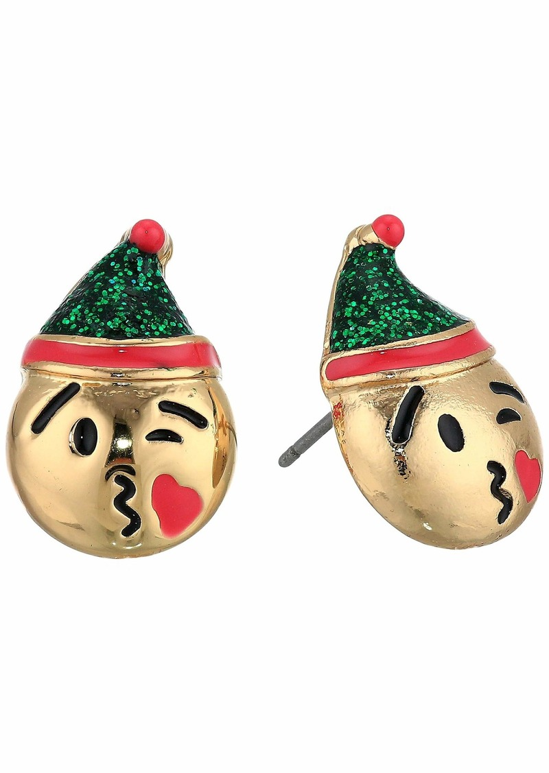 Betsey Johnson Elf Emoji Stud Earrings