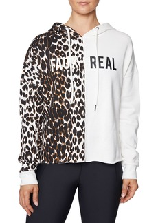 Betsey Johnson Faux Real Leopard-Print Cropped Hoodie