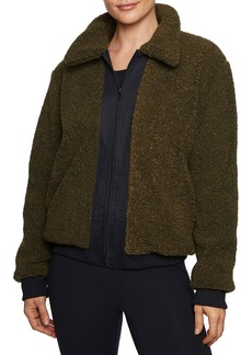 Betsey Johnson Faux Sherpa Contrast Trim Jacket