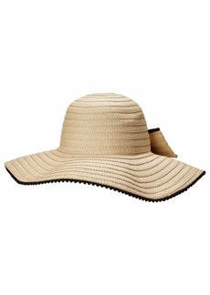 Betsey Johnson Floppy Hat with Bow & Pom Trim