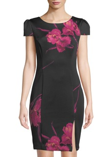 Betsey Johnson Floral Cap-Sleeve Body-Con Dress