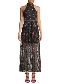 Betsey Johnson Floral Embroidered Halter-Neck Maxi Dress