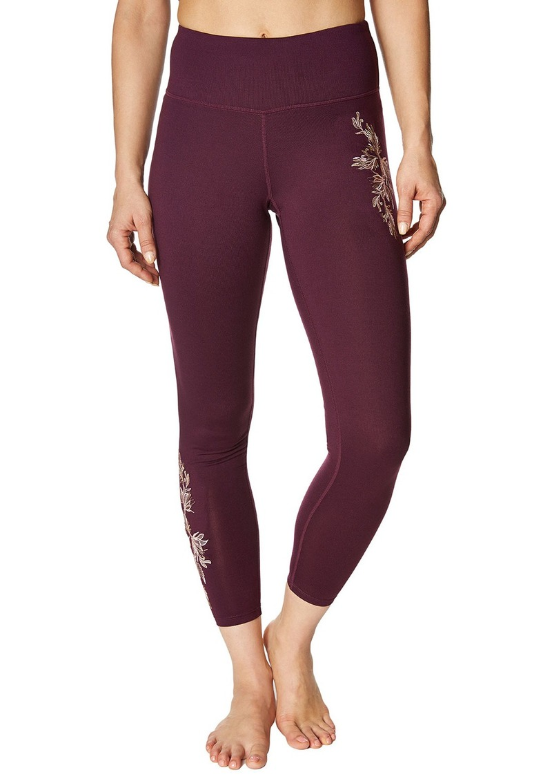 Betsey Johnson Floral-Embroidered High-Rise Leggings