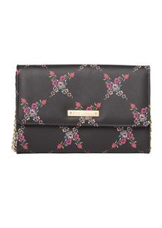 Betsey Johnson Floral Lattice Print Wallet
