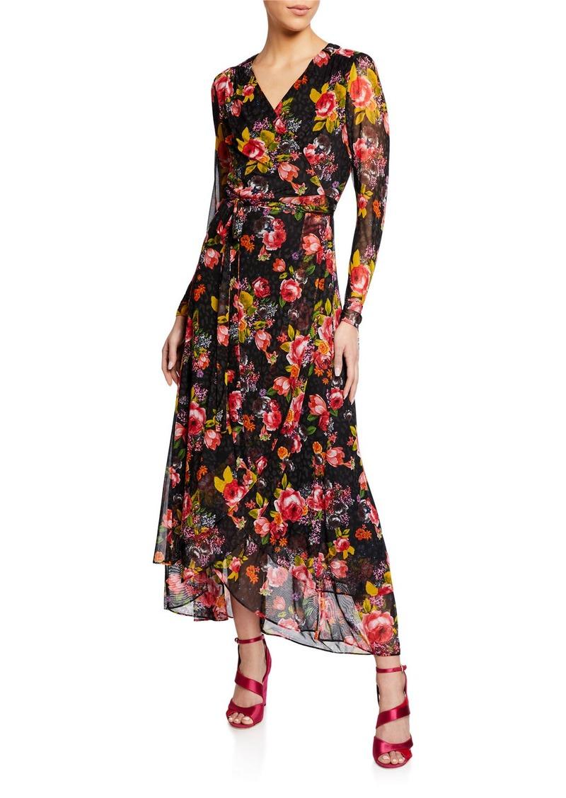Betsey Johnson Floral Mesh Wrap Maxi Dress