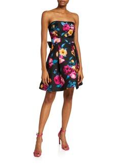 Betsey Johnson Floral Print Strapless Dress