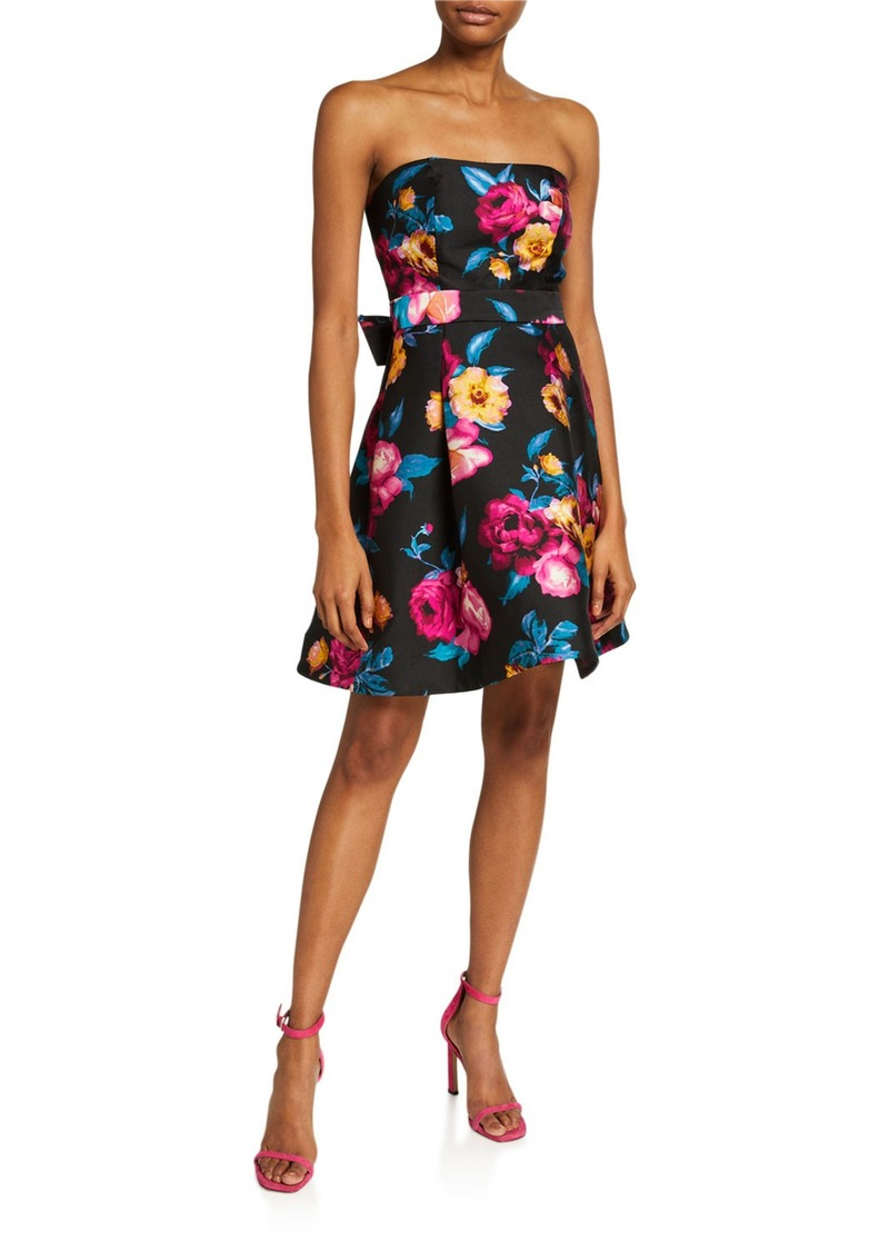 Betsey Johnson Floral Print Strapless Dress