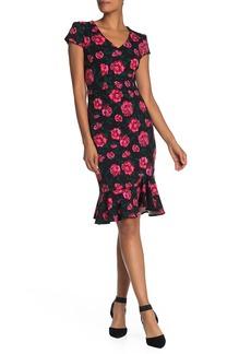 Betsey Johnson Floral V-Neck Flounce Hem Crepe Sheath Dress
